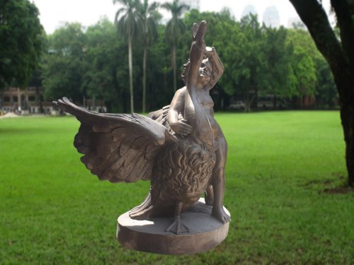 Bronze Child Sculpture With Goose for Garden Decoration