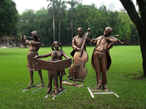 Contemporary bronze sculpture five musician scupture