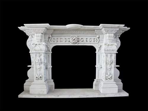 White Marble Fireplace with Complicate Carving Flowers for Home Decoration