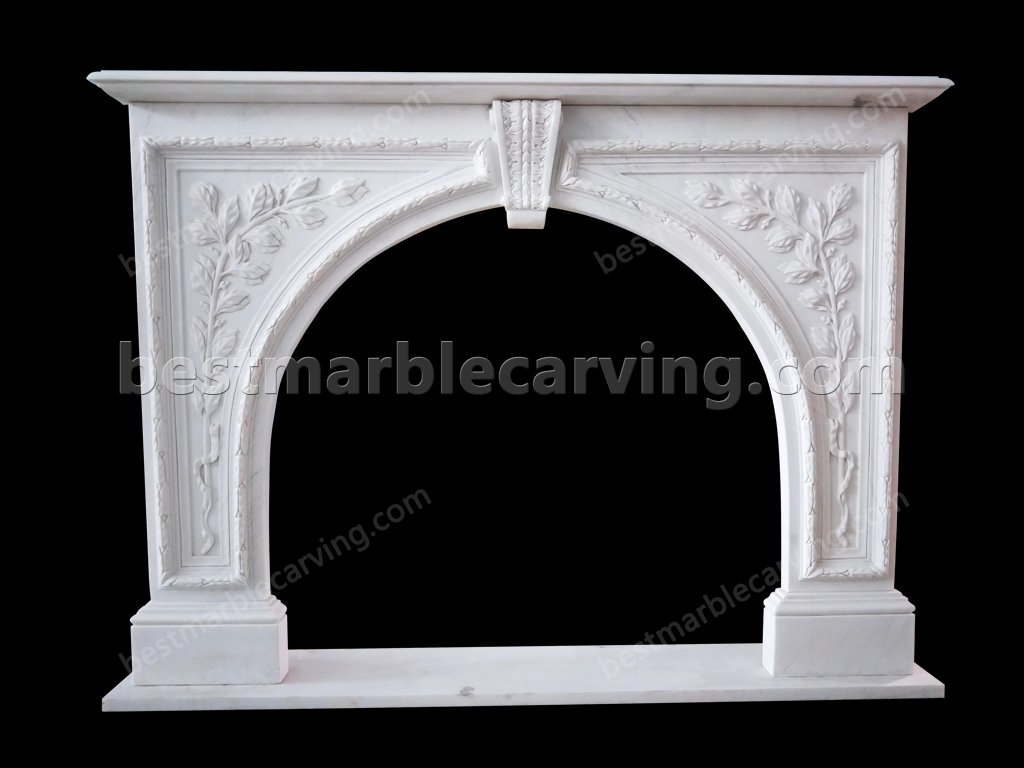 White Marble Fireplace Mantel-white marble fireplace mantel (1)