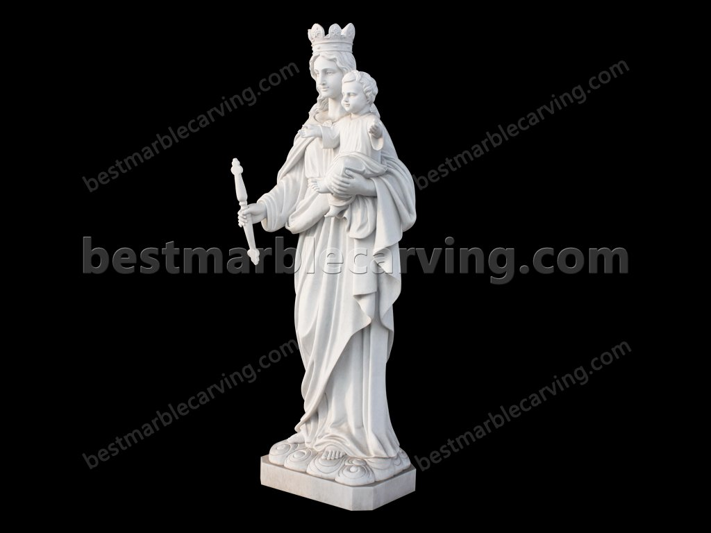 Marble Mary And Baby Jesus Sculpture for Church-Marble Mary And Baby Jesus Sculpture for Church (3)