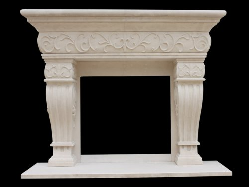French Limestone Fireplace 1