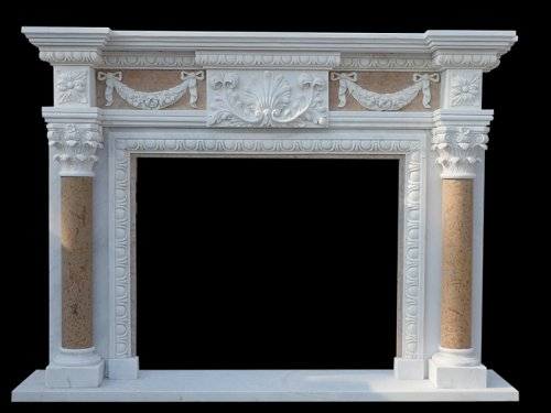 Marble Tile Fireplace