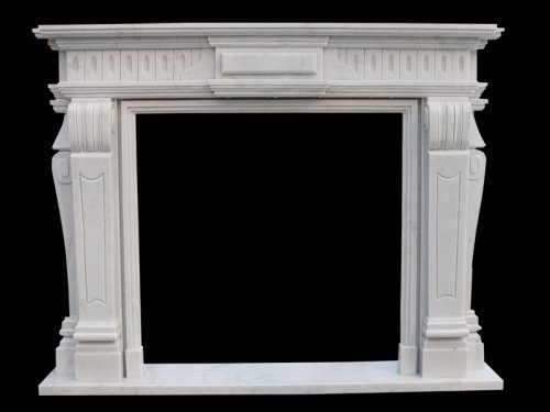 Modern White Marble Fireplace