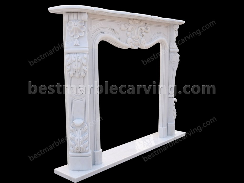 White Marble Fire Surround-white marble fire surround (3)
