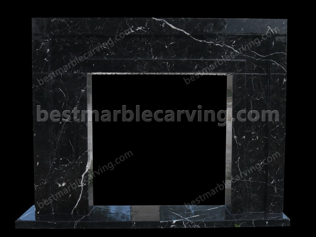 Black Marble Fireplace with White Veins-black marble fireplace (1)