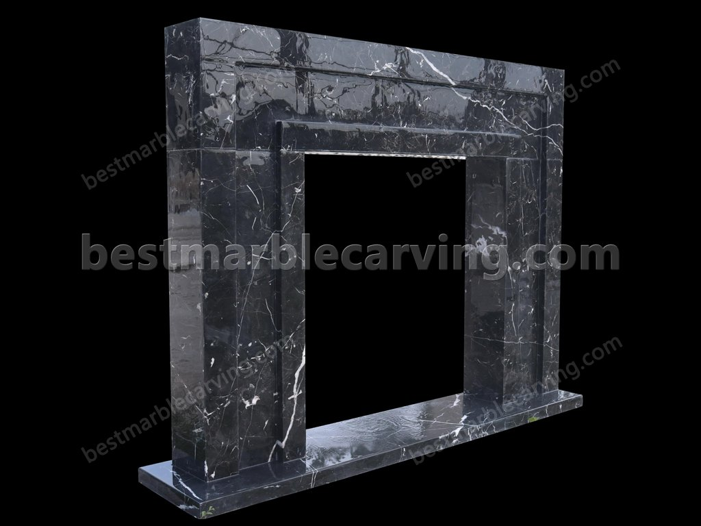 Black Marble Fireplace with White Veins-black marble fireplace (3)