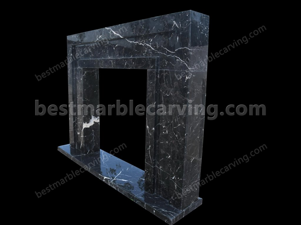 Black Marble Fireplace with White Veins-black marble fireplace (4)